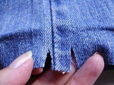 Jeans säumen - Trick um nicht zu dicke Stofflagen nähen zu müssen.