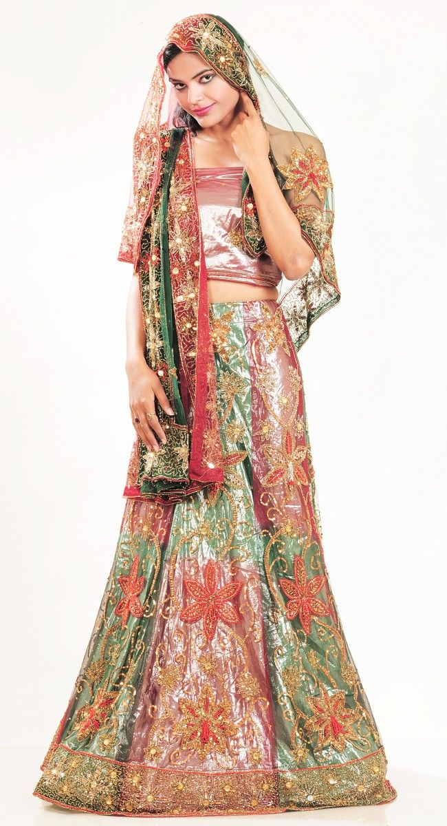 Plushy Aloe Vera Green & Dep Scarlet Red #Lehenga #Choli and #Navratri #Garba #Dress.