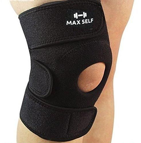 MaxSelf Knee Brace Open-Patella Protector with Velcro Straps | Top Quality Neoprene Sleeve for Improved Circulation Compression Joint Pain and Arthritis Relief