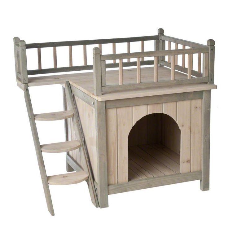 Wooden Cat Den Kitten Cabin House Door Pet Ladder Bedroom Indoor Outdoor Wood