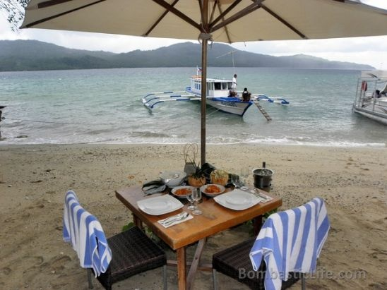 Private lunch at Misibis Bay Resort in the Philippines.