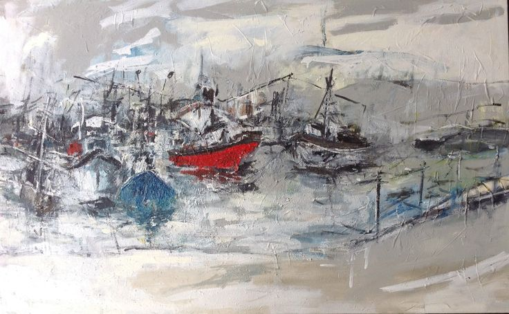 Oil and acrylic on canvas  'Red Boat' 2014