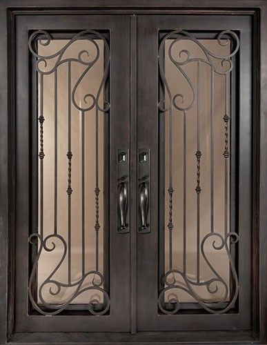 62x82 affinity iron double door beautiful wrought iron for Double glass doors