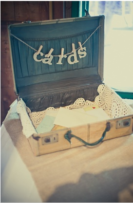 "Love this idea for cards, vintage case open up, ""cards"" spelled out and hung with miniature clothes pins."