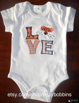 "Auburn Tigers ""LOVE"" onesie.    NEED THIS!"