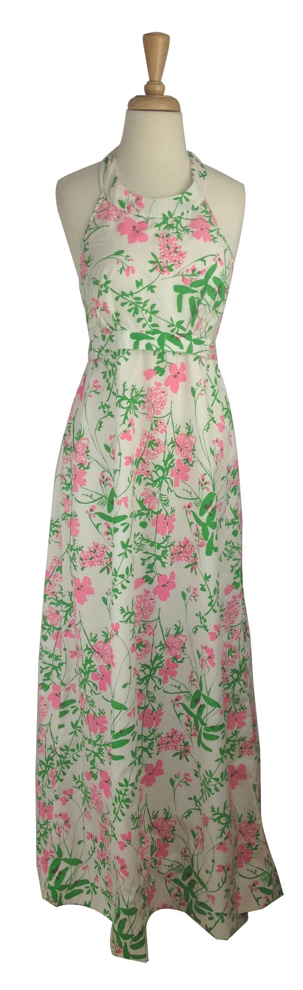 Vintage Lilly Pulitzer Pink Amp Green Floral Halter Maxi