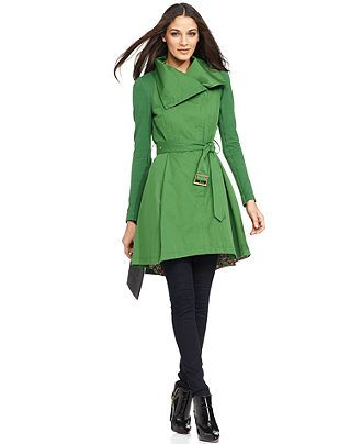 BCBGeneration Coat, Knit-Sleeve Funnel-Neck Belted Trench - Womens Coats - Macy's