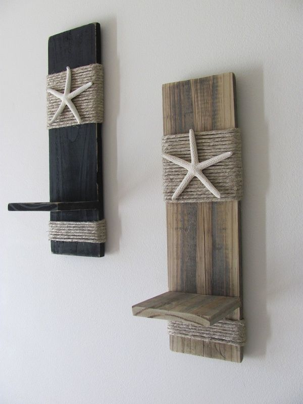 Reclaimed Upcycled Wood Plank Starfish Sconces Wall Decor Black Beach Cottage Home Nautical Bathroom