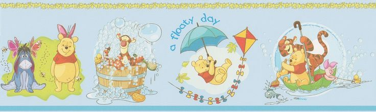 Cenefa de Winnie the Pooh y amigos WP3510-2 bañándose en un cubo, navegando en un paraguas... en un fondo color azul cielo.