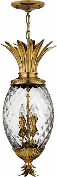 "Hinkley Lighting 2222 Plantation Outdoor Hanging Lantern  Solid Brass or Cast Aluminum with choice of finish and Clear Optic Glass on a Pineapple Shaped Outdoor Fixture.  Width: 12.5"" x Height: 28.5"" Hinkley Plantation Pineapple Outdoor Collection - Brand Lighting Discount Lighting - Call Brand Lighting Sales 800-585-1285 to ask for your best price!"