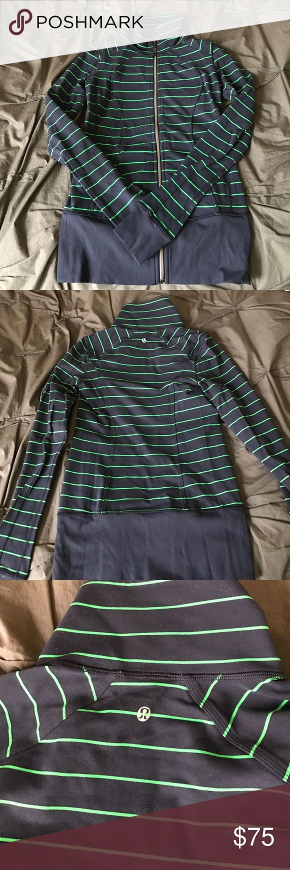 Navy and Green Lululemon zip up Navy and Green striped zip up. Long (covers butt), thumb holes in sleeves, two zip pockets. lululemon athletica Tops Sweatshirts & Hoodies