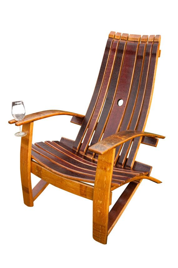 Wine Barrel Adirondack chairs by www.winebarrelchairs.com Each chair is hand crafted from Napas finest wine barrels The chairs are all coated with a penetrating oil and four coats of marine varnish for years of durability.  For more information see: www.winebarrelchairs.com