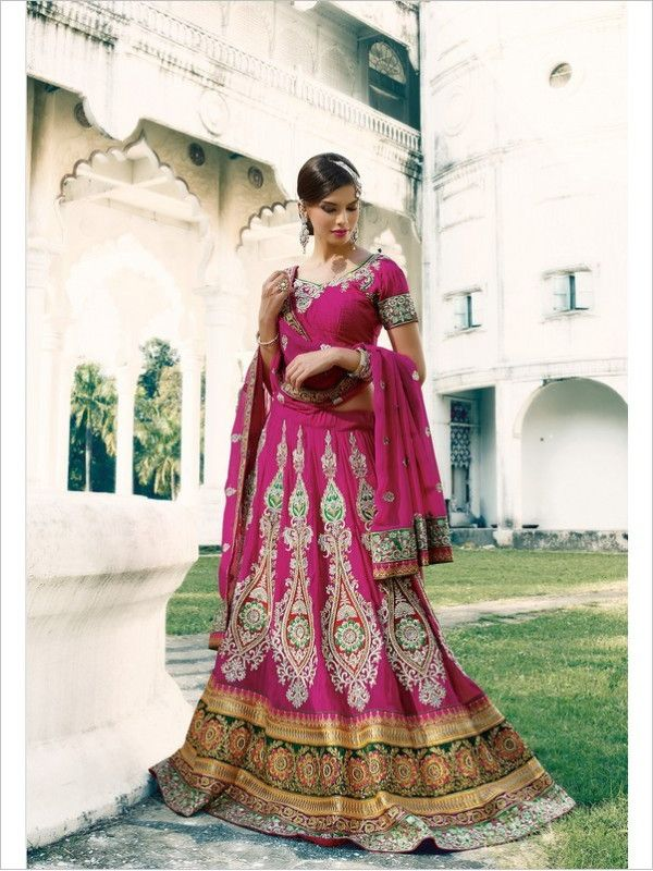 Fuchsia Wedding Georgette Women Lehenga