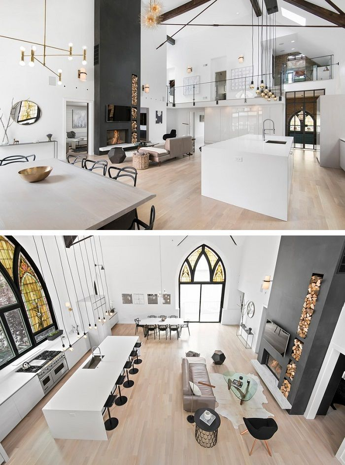 Church Transformed Into Modern Family House in Chicago