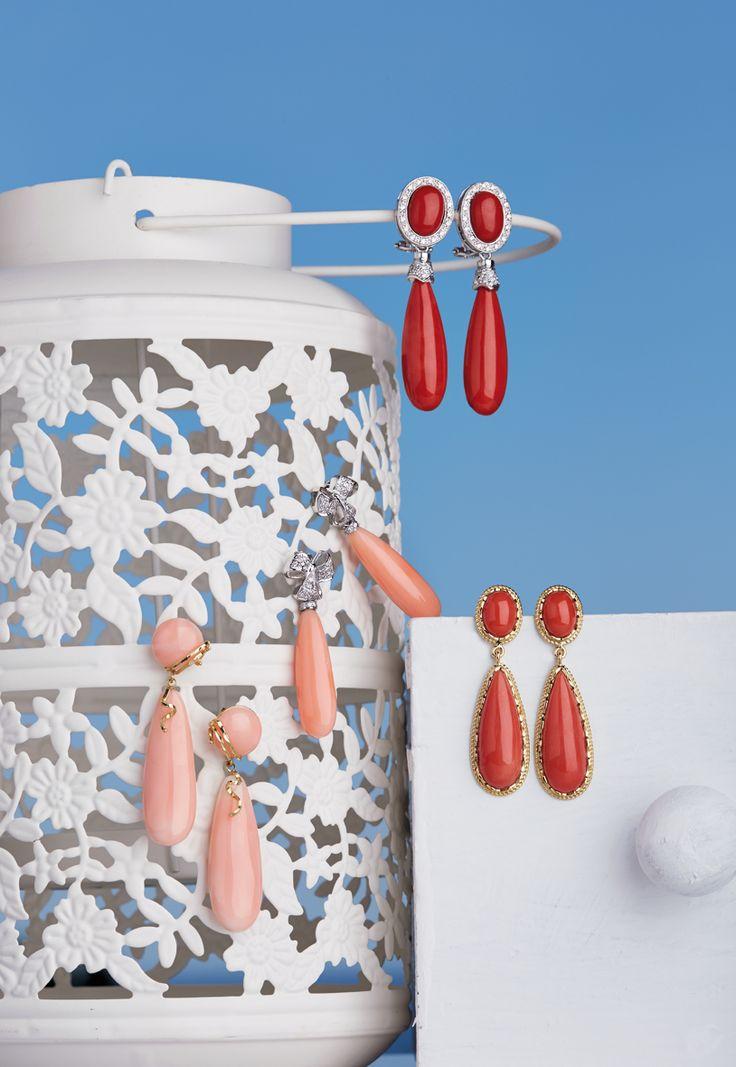 Bruno Mazza brunomazza.com Orecchini in corallo montati in oro 750%°  e orecchini in corallo montato in oro 750%° con brillanti
