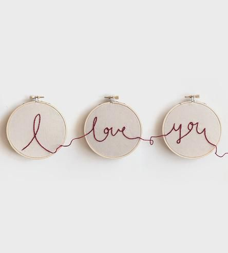 I Love You Embroidery Hoop Art - this is so cute & would  And a cute wedding gift - @LaVieAnnRose