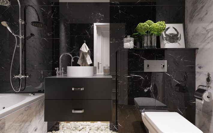 Download wallpapers modern bathroom design, black bathroom, gloss, modern interior, bathroom