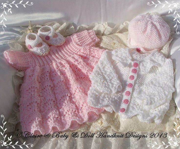 "Lacy Dress & Jacket Set 16-22"" doll-babydoll handknit designs, knitting pattern, doll, baby, dress, coat"