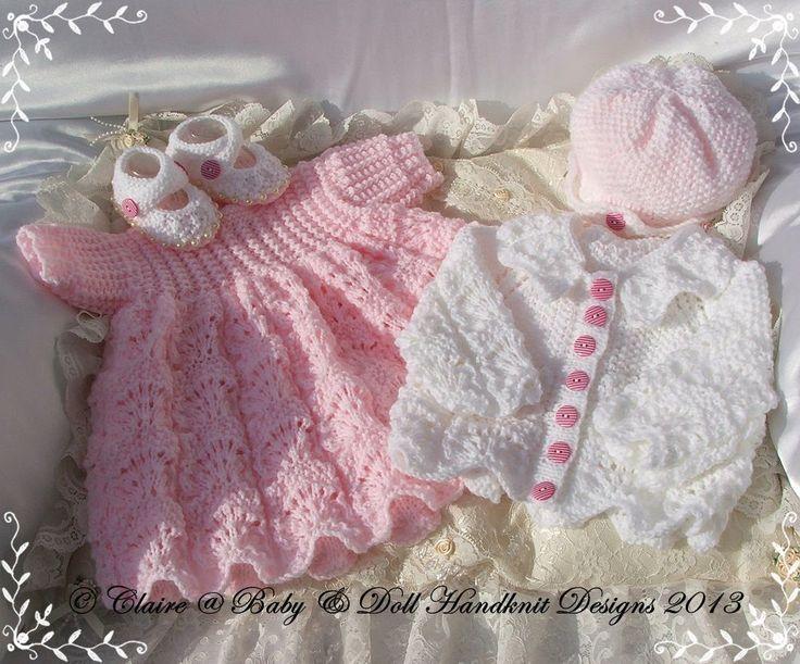 "Lacy Dress & Jacket Set 16-22"" doll-babydoll handknit designs, knitting pattern, doll, baby, dress, coat"