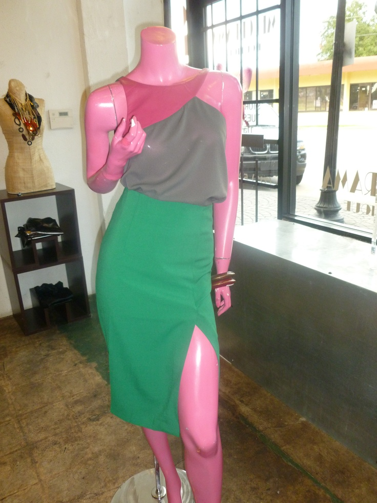 2 tone top with leatherette magenta neckline paired with green high waist pencil skirt with slit!