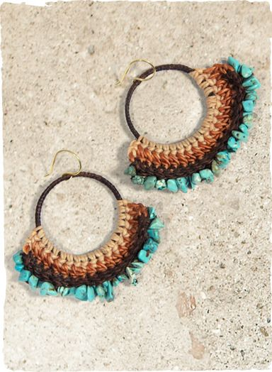 The waxed thread hoop earrings fan out in an ombre of sand to chocolate crochet, edged with turquoise nuggets.