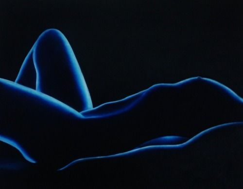 Blue Nude Figurative Oil Painting Mysterious by k Madison Moore by k. Madison Moore Contemporary Fine Artist