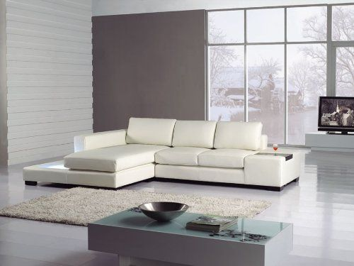 Amazon.com   Modern Newport Compact White Leather Sectional Sofa