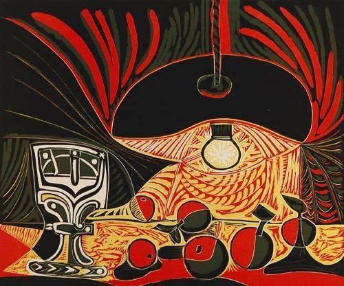 pablo picasso (1881–1973) - nature morte sous la lampe (still life under the lamp), linocut, 1962 (the british museum).