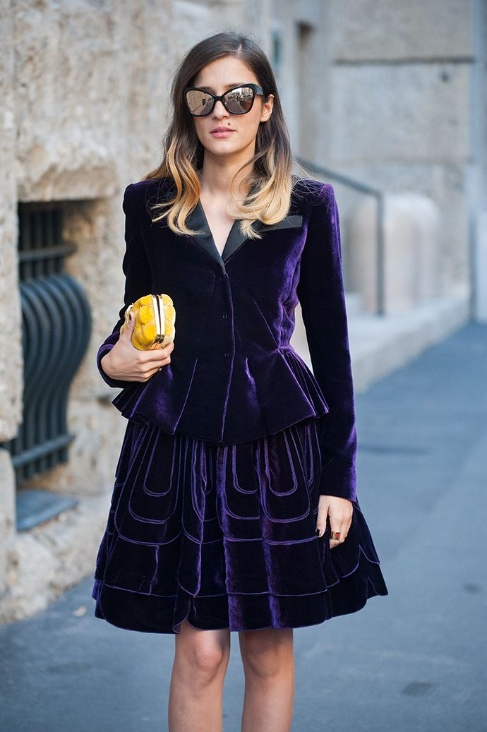 purple passion. #EleonoraCarisi in Milan. #MFW