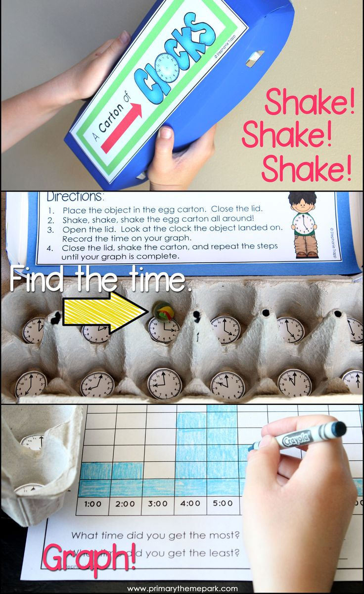 Time center activities for first grade to practice telling time to the hour and half hour