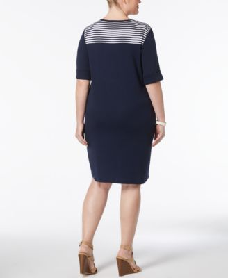 Karen Scott Plus Size Cotton Tie-Front T-Shirt Dress, Created for Macy's - Black 0X