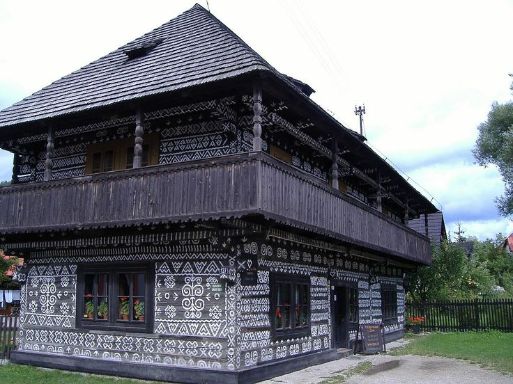 Čičmany: Slovakia's painted village ( exterior walls with specific white patterns) -  known as the first folk architecture reserve in the world.