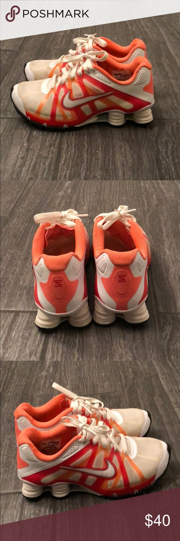 Nike plus, running shoes Only worn a handful of times, size 7.5, orange and red shocks Nike Shoes Sneakers