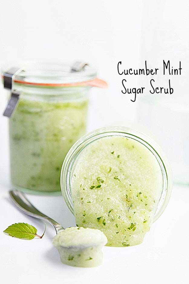 Best Beauty Products to Make at Home - Cucumber Mint Sugar Scrub - Simple DIY Recipes and Tutorials for Essential Oils, Shaving Cream, Sugar Scrubs, Body Butter, Bath Bombs and Hand Soaps - Natural Anti Aging Remedies That Use Aloe Vera, Baking Soda, Water, Coonut Milk and more! - thegoddess.com/beauty-products-to-make-at-home
