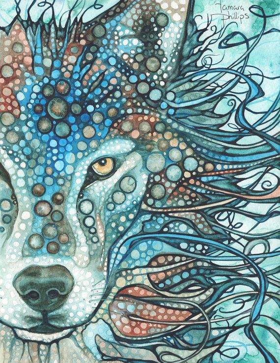 Timber Wolf  Tamara Phillips 8.5 x 11 print of watercolour artwork in sky blue gray turquoise teal palette, watercolor totem spirit animal guide, children