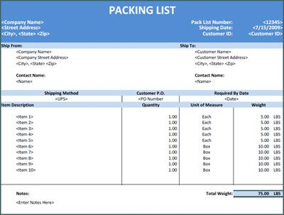 example of a packing list