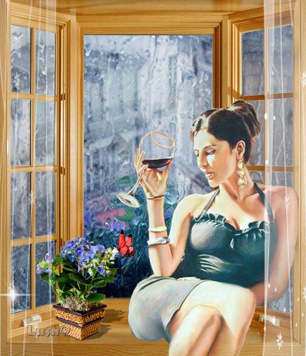 Девушка у открытого окна гифка