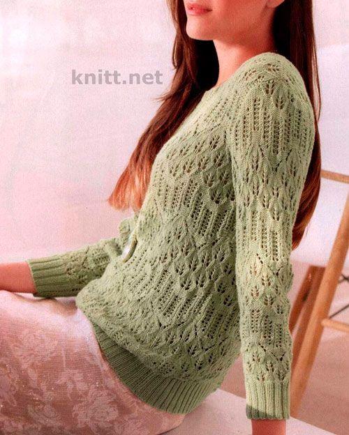 Легкий пуловер с узорами