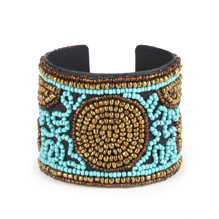 Sole Society Womens Global Beaded Cuff Bracelet Blue Multi One Size From Sole Society hwBDu