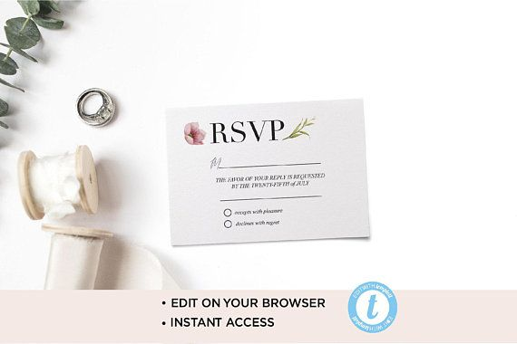 Modern Rsvp Card Template Rsvp Template Printable Wedding Rsvp