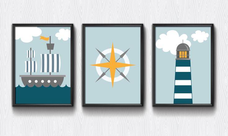 Nursery printable, Nautical set, nursery decor, lighthouse, boys room, boys nursery, blue nursery, nautical theme, modern nursery by aTypeOfInspiration on Etsy https://www.etsy.com/listing/219813057/nursery-printable-nautical-set-nursery