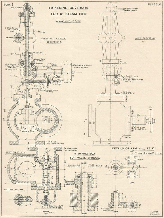 Pickering Govenor Steam Pipe 1920s Vintage industrial Print