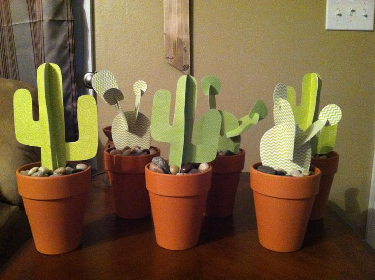 Paper Cactuses- centerpieces for a Sheriff Callie themed 3rd birthday party!