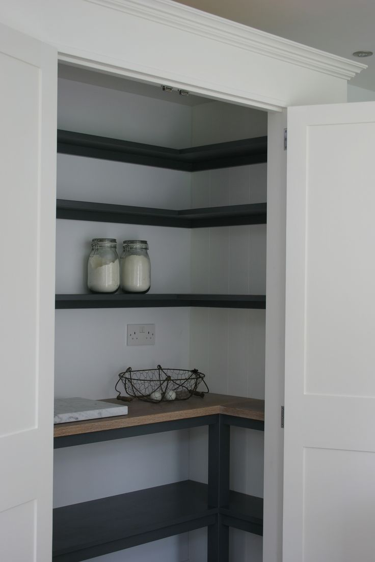 Painted in Farrow and Ball Wimborne White white shelving in Down Pipe and oak…
