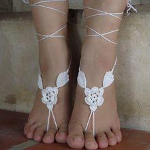 Seta Bianco Handmade Crochet Sandali A Piedi Nudi per la Cerimonia Nuziale di Applique, Boho, spiaggia, punta, cavigliera Gioielli Piede(China (Mainland))