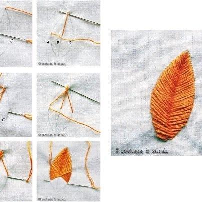 Ponto de espinha de peixe.  Este ponto é normalmente utilizado para padrões de folha. Ele lança um efeito acolchoado sobre o motivo. O ponto parece um pouco difícil, mas não tem complicações quando você começar a costurar. Na verdade, você vai se divertir quando você vê uma folha linda...    Fonte:  http://www.embroidery.rocksea.org/stitch/fishbone-stitch/raised-fishbone-stitch/
