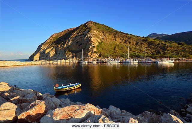 Greek Fishing Boat in Katelios Harbour on the Greek Island of Kefalonia,Greece - Stock Image