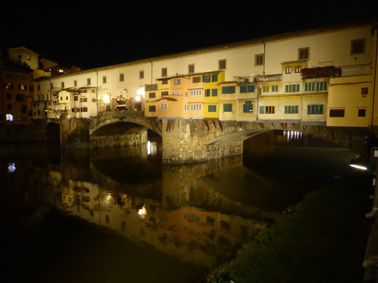 The famous Ponte Vecchio at night.