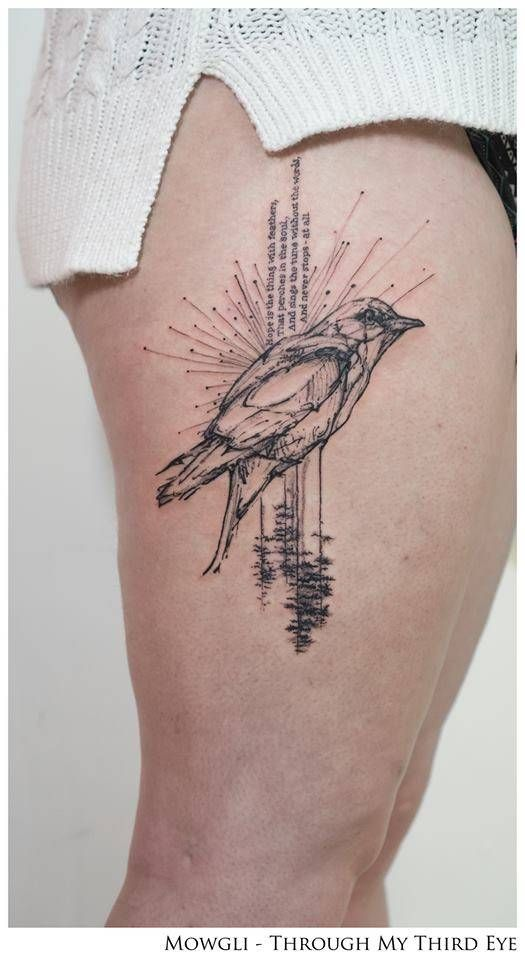 """Graphic style bird tattoo on the right thigh, together with the first stanza of the poem '""""Hope"""" is the thing with feathers' by Emily Dickinson.""""Hope"""" is the thing with feathers -That perches in the soul -And sings the tune without the words -And never stops - at all - Tattoo artist: Mowgli"""
