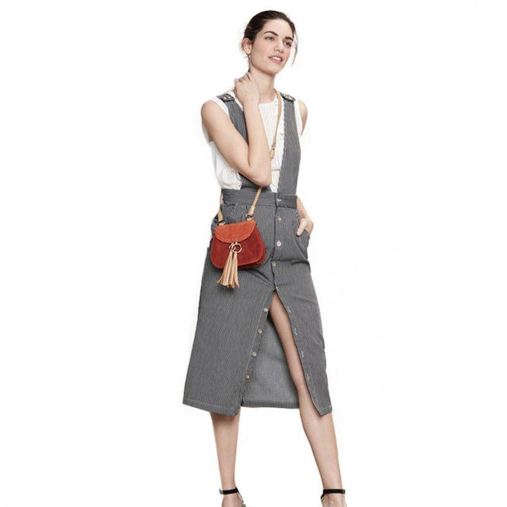 Fashion New Women Pockets Black-White Stripes High Waist Midi Pencil Overalls  Casual Suspender Skirt